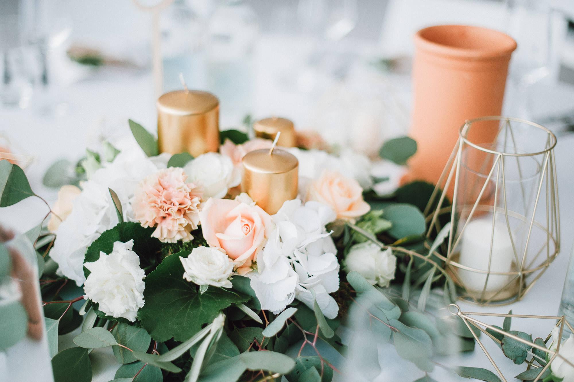 Kupfer und Pastellfarbene Hochzeitsdekoration