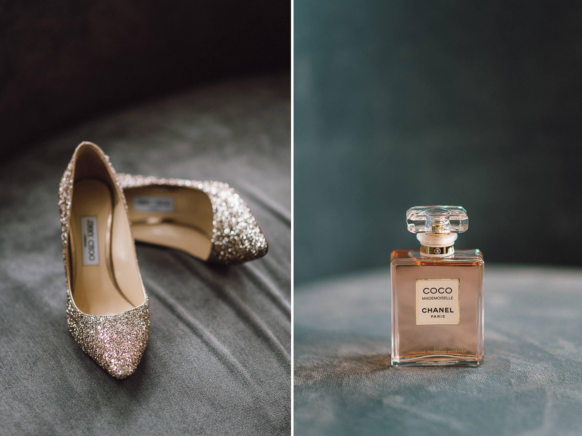 Collage aus Pumps und einem Parfum