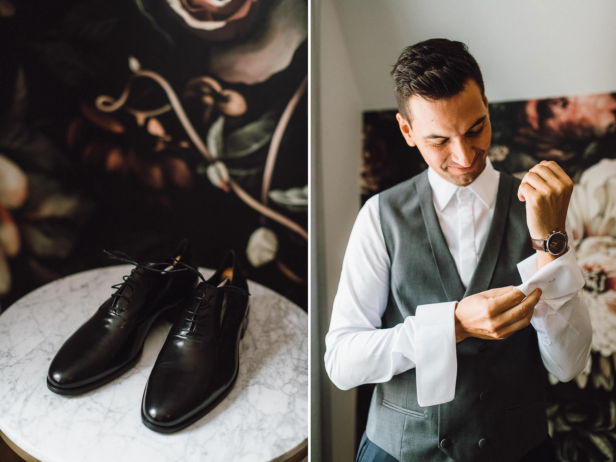 Collage mit Schuhe und Bräutigam beim Fertigmachen