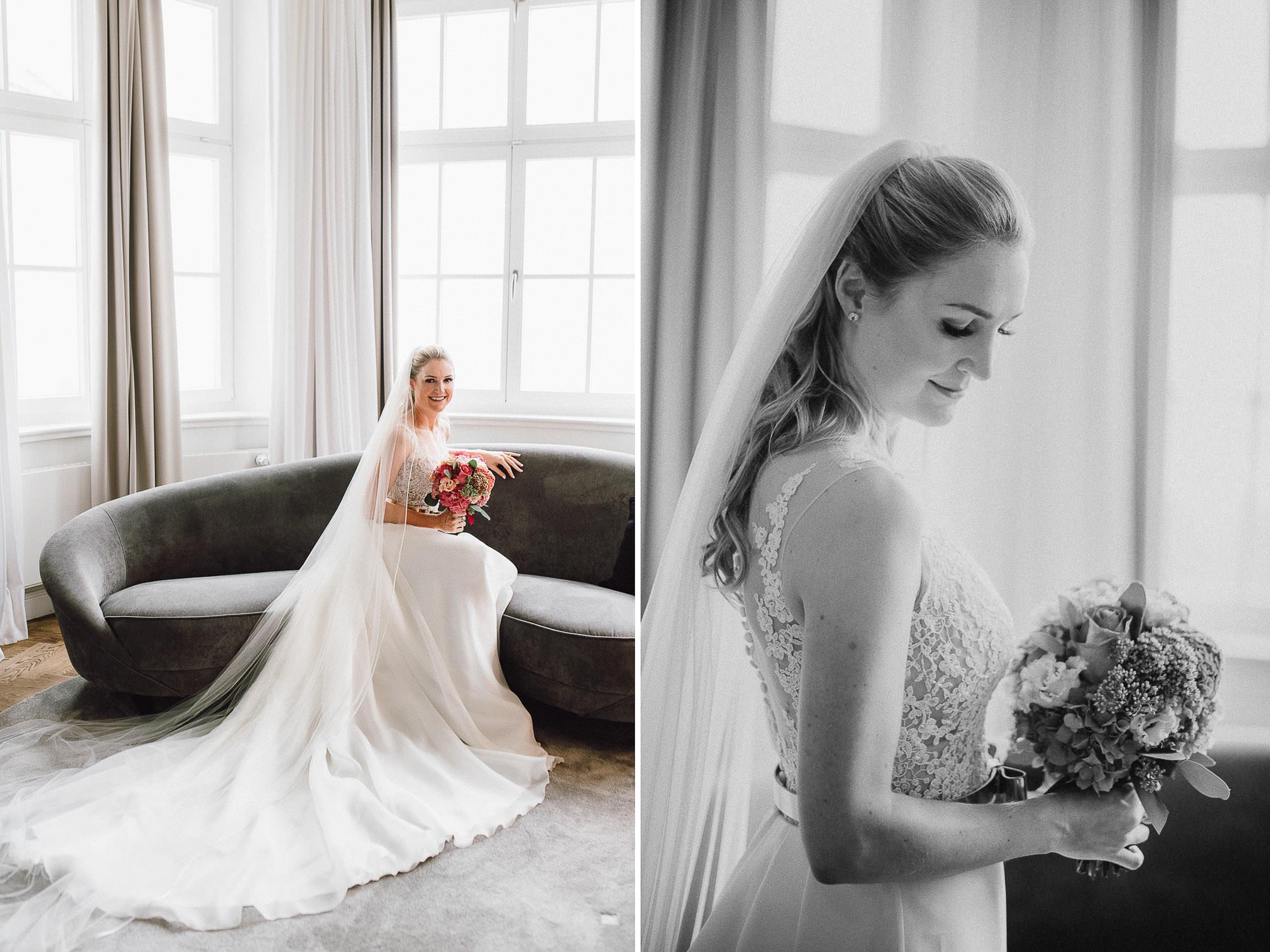 Elegante Brautportraits im Hotelzimmer