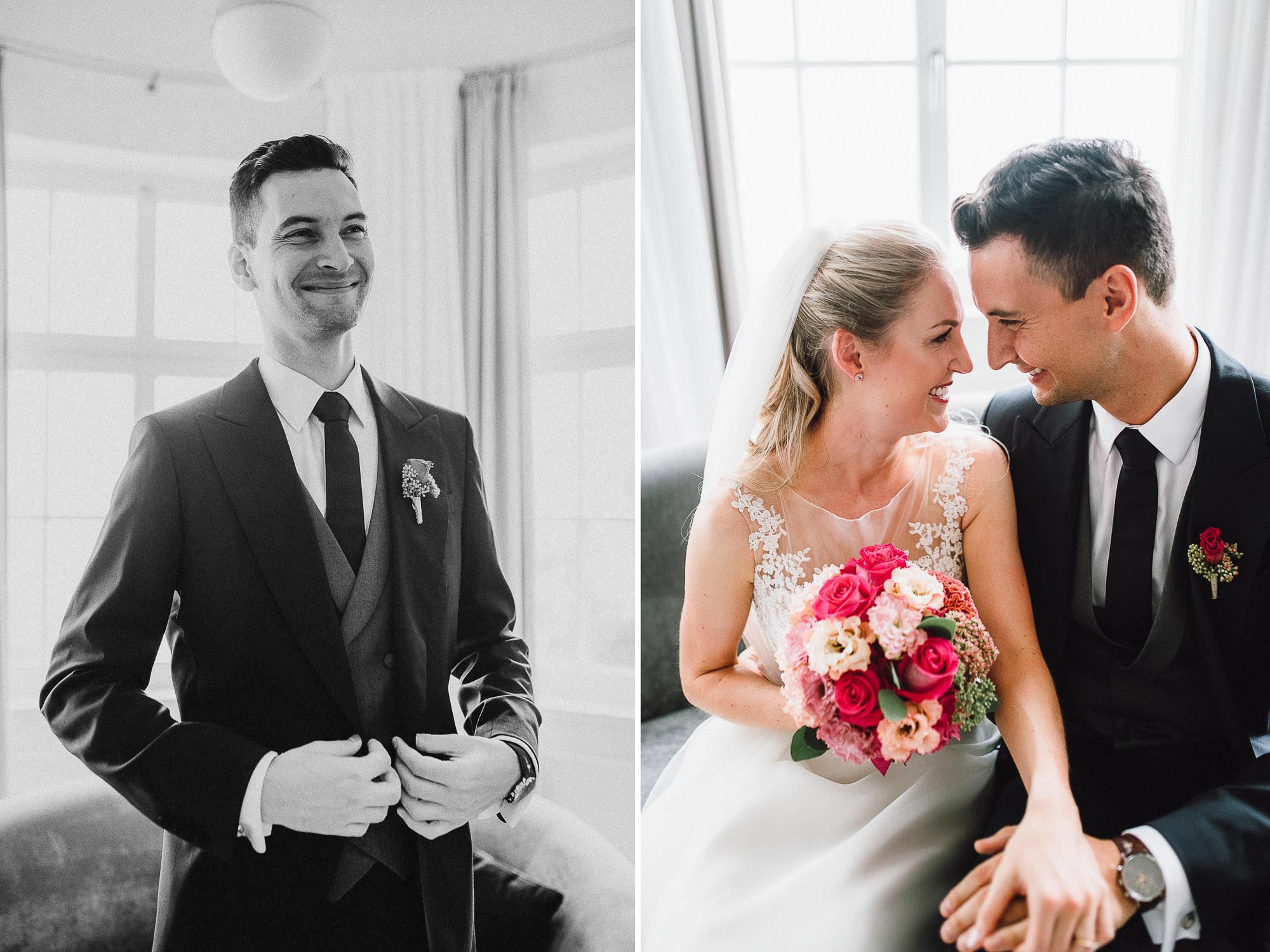Inniges Brautpaarportrait im Hotel